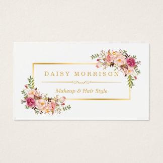 Salon de beauté floral chic de maquilleur de cadre cartes de visite