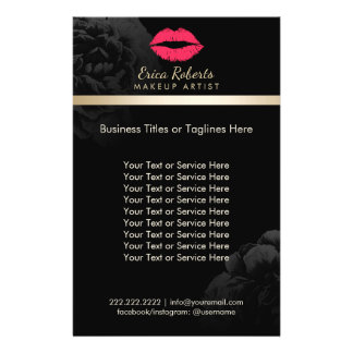Salon de beauté floral de noir rouge de lèvres de prospectus 14 cm x 21,6 cm