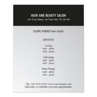 Salon de beauté foncé élégant de noir d'argent de prospectus 11,4 cm x 14,2 cm
