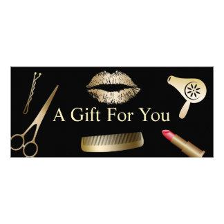 Salon de beauté moderne d'or des certificat-primes carte publicitaire