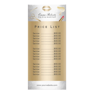 Salon de beauté moderne d'or et d'argent des carte publicitaire