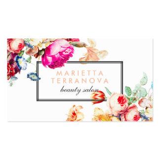 Salon de beauté rayé floral chic vintage élégant carte de visite standard