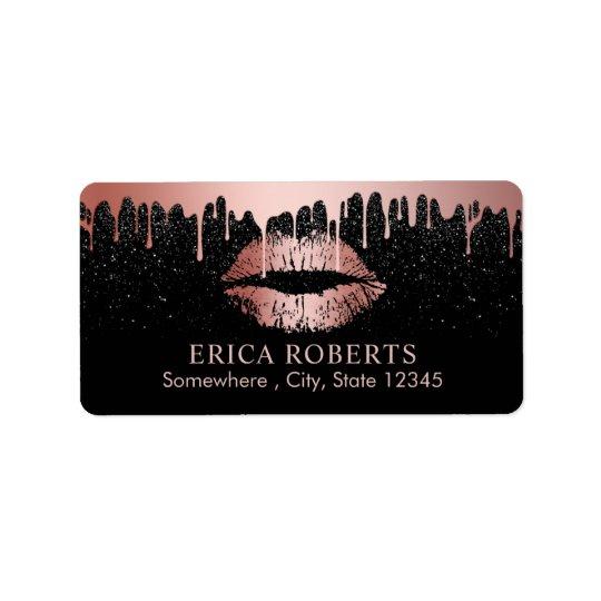 Salon de beauté rose de lèvres d'or d'égoutture de étiquette d'adresse