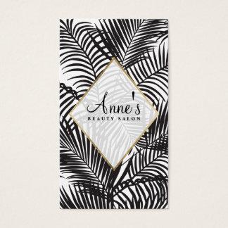 Salon de beauté tropical noir moderne de palmier cartes de visite