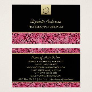 Salon de coiffure de luxe d'impression de guépard cartes de visite