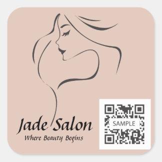 Salon de coiffure de modèle d'autocollant sticker carré