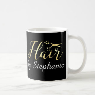 Salon de coiffure d'or de styliste en coiffure de mug