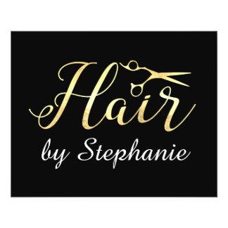 Salon de coiffure d'or de styliste en coiffure de prospectus 11,4 cm x 14,2 cm