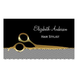 Salon de coiffure élégant de chevrons de noir et cartes de visite professionnelles