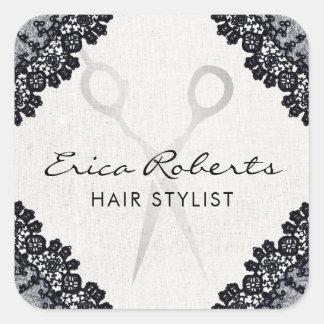 Salon de coiffure lacé par noir vintage de sticker carré