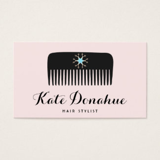 Salon de coiffure mignon de rose de peigne de cartes de visite