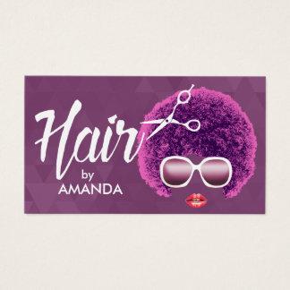 Salon de coiffure pourpre moderne d'Afro-américain Cartes De Visite