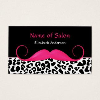 Salon de coiffure rose et noir de moustache Girly Cartes De Visite