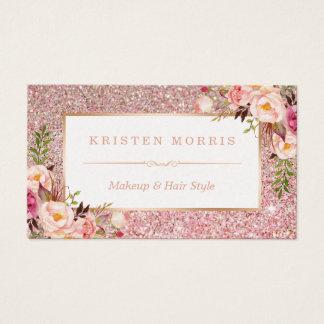 Salon de coiffure rose floral de maquilleur de cartes de visite