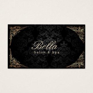 Salon et spa encadrés floraux élégants de damassé cartes de visite