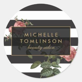 Salon rayé floral vintage II Sticker Rond