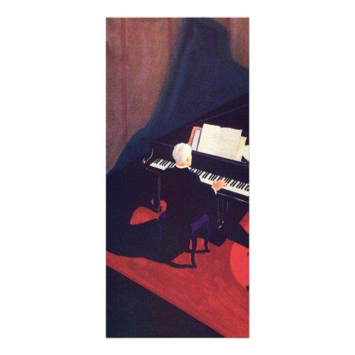 Salon vintage de pianiste de pianiste d'art déco d cartes doubles