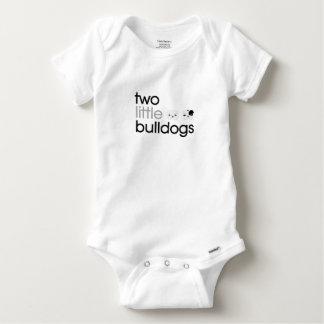 """Salopette de bébé de """"deux petits bouledogues"""" t-shirts"""