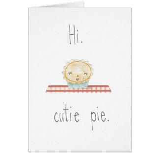 Salut carte de note de tarte de Cutie