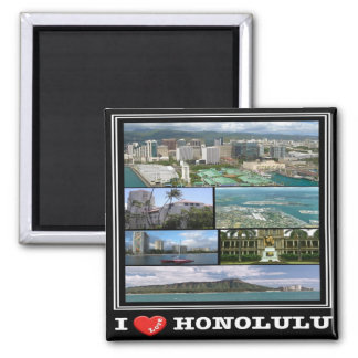 SALUT - Hawaï - Honolulu - amour d'I Magnet Carré