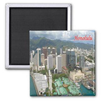 SALUT - Hawaï - Honolulu - panorama Magnet Carré