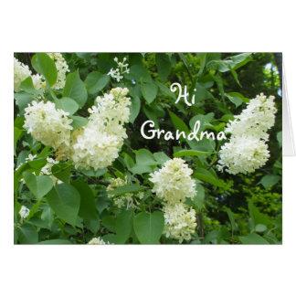 Salut lilas de blanc de grand-maman cartes de vœux