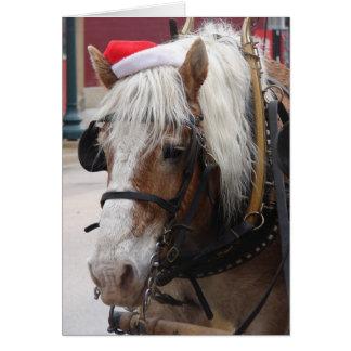 Salutation belge de Noël de cheval de trait Carte De Vœux