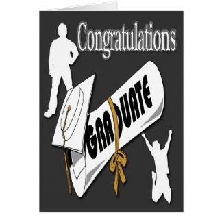 Salutation blanche d'obtention du diplôme de carte de vœux