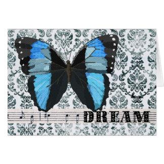 Salutation bleue de rêve de papillon carte de vœux