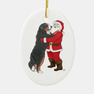 Salutation de Noël de chien de montagne de Bernese Ornement Ovale En Céramique