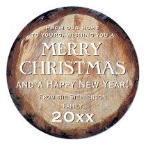 Salutation faite sur commande de Noël de rondin Invitations Personnalisées