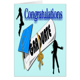 Salutation (femelle) bleue d'obtention du diplôme  cartes de vœux