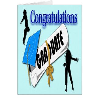 Salutation (femelle) bleue d'obtention du diplôme carte de vœux
