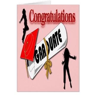 Salutation (femelle) rouge d'obtention du diplôme carte de vœux