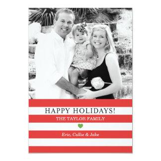 Salutation gaie de Noël de photo de rayures Invitation Personnalisée
