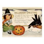 Salutation heureuse vintage mignonne de Halloween Carte Postale