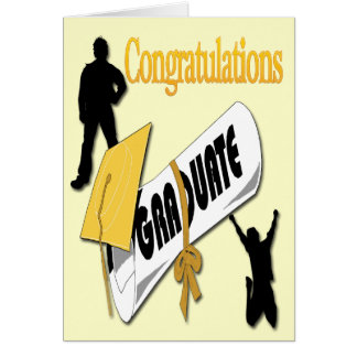 Salutation jaune d'obtention du diplôme de carte de vœux