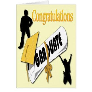 Salutation jaune d'obtention du diplôme de casquet cartes de vœux