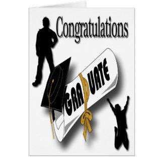 Salutation noire d'obtention du diplôme de carte de vœux