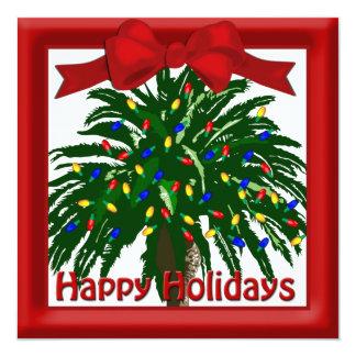 Salutation plate de palmier du sud de Noël Carton D'invitation 13,33 Cm