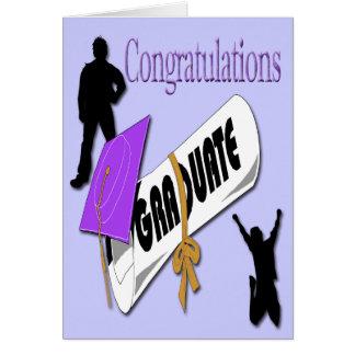 Salutation pourpre d'obtention du diplôme de casqu carte de vœux