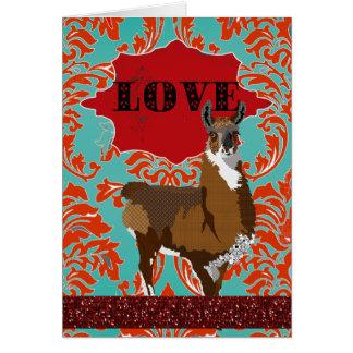 Salutation rouge de damassé d'amour d'or de lama carte de vœux