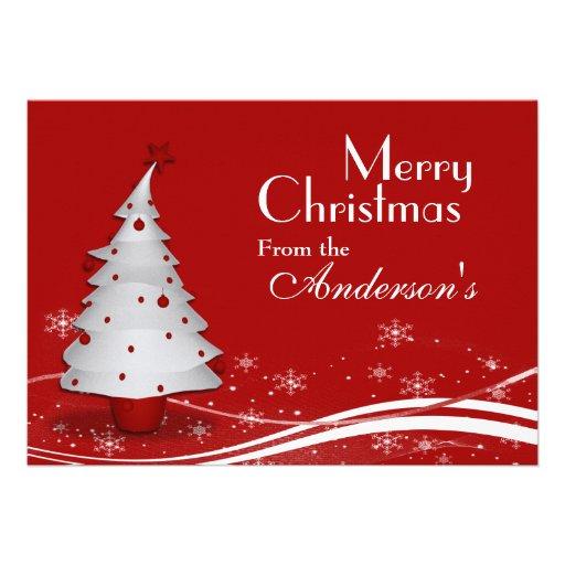 Salutation rouge de Noël d'arbre d'arrière - plan  Invitations Personnalisées