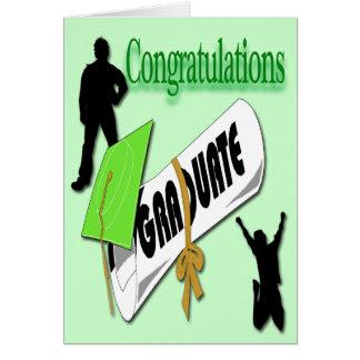 Salutation verte d'obtention du diplôme de carte de vœux