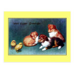 Salutations 1906 de Pâques de cru ; chiots de coll Carte Postale