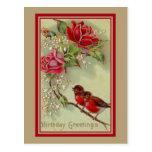 Salutations antiques vintages d'anniversaire, cartes postales