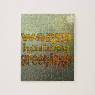 Salutations chaudes de vacances puzzle avec photo