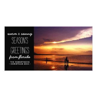 Salutations chaudes et ensoleillées de Noël Photocarte Personnalisée