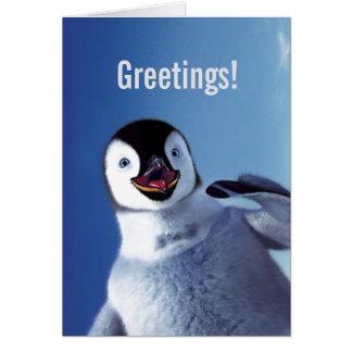Salutations d anniversaire de pingouin cartes de vœux