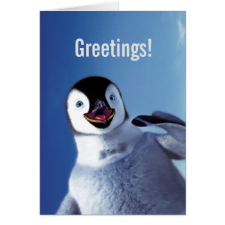 Salutations d'anniversaire de pingouin carte de vœux